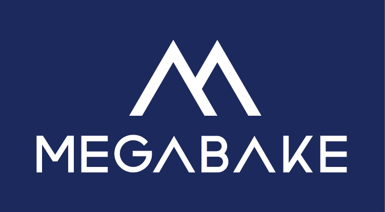 Megabake Logo White on Blue