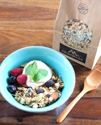 Bowl of Panache! baked muesli with berries and yoghurt