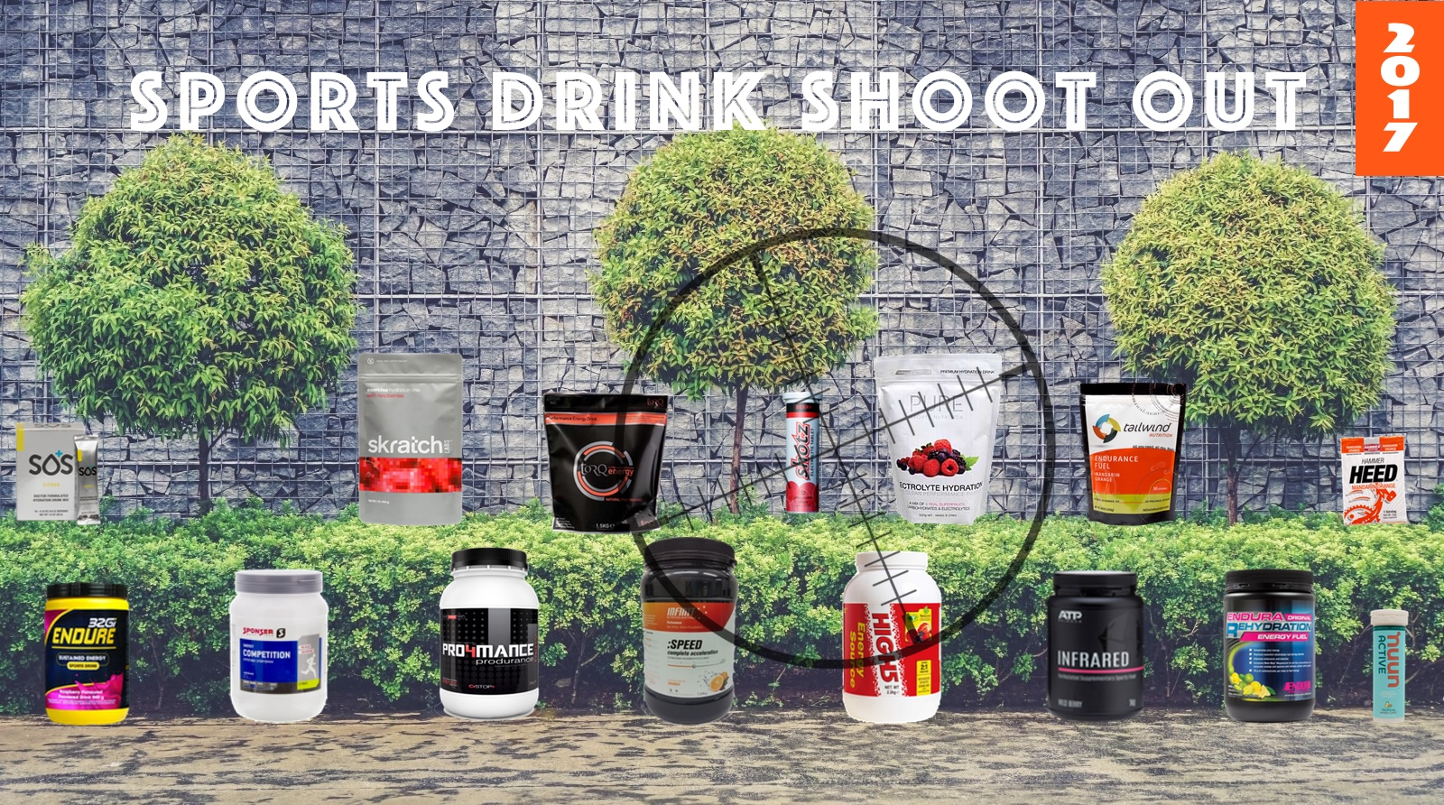 Line up of sports drink on wall
